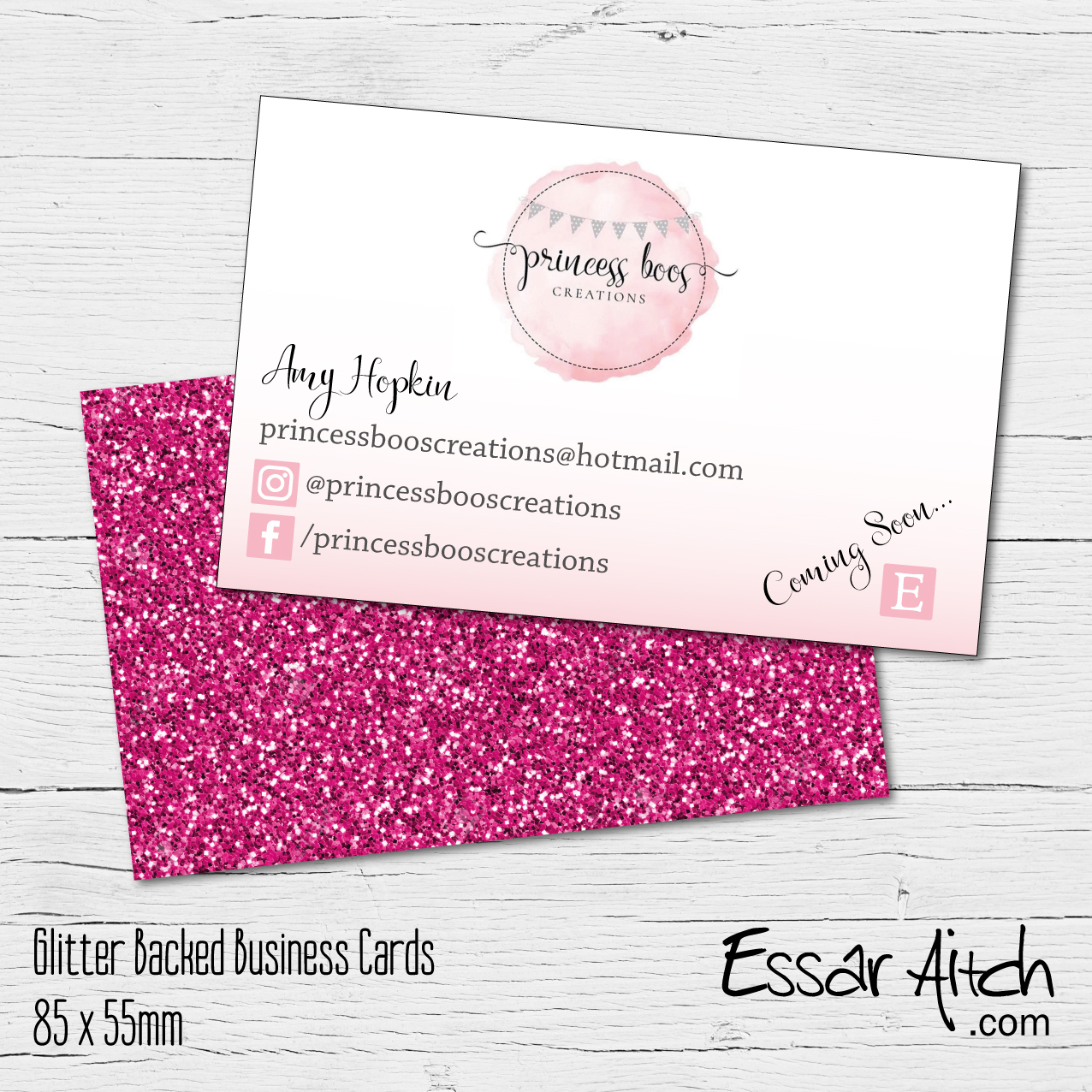 Glitter Backed Business Cards – Essar Aitch