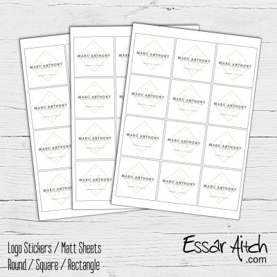 Square  – White Matt Stickers